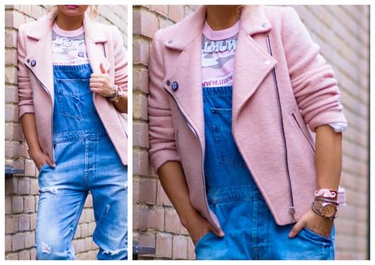 Stradivarius Wool Biker soft pink jacket , ZARA overalls , LMUW