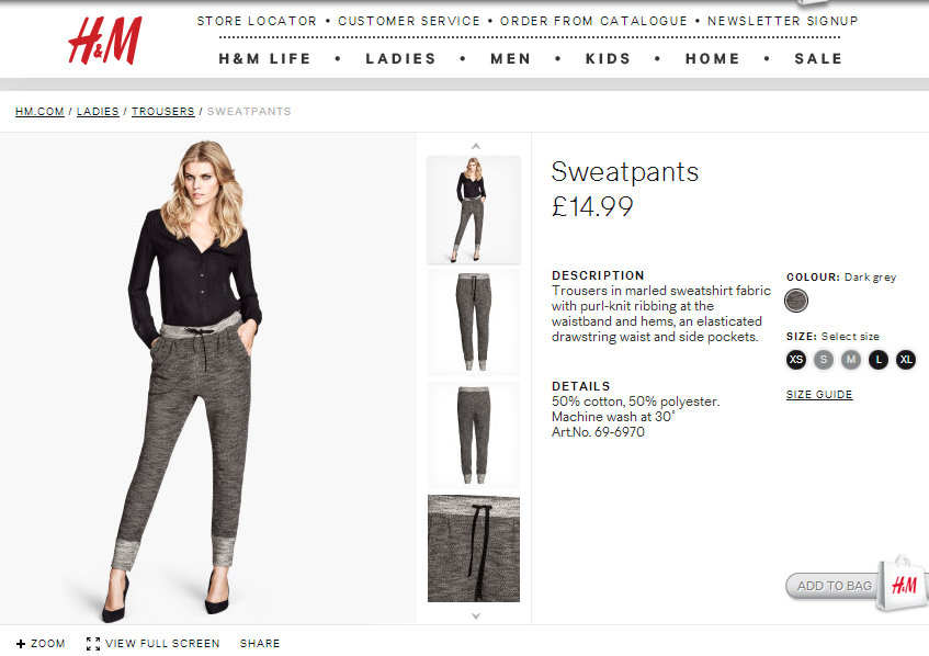 H&M sweat pants LMUW AVS lounge me up