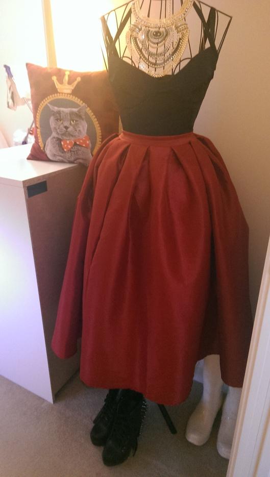 Red full shiny skirt