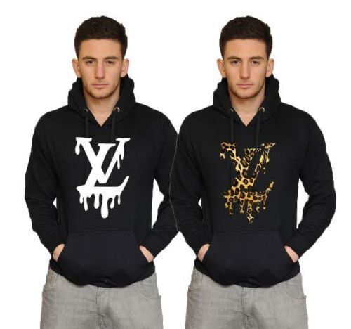 LV dripping LOGO swagger hipster black hoodie LMUW AVS