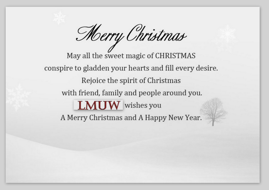 MERRY XMAS WISHES FROM AVS BY LMUW