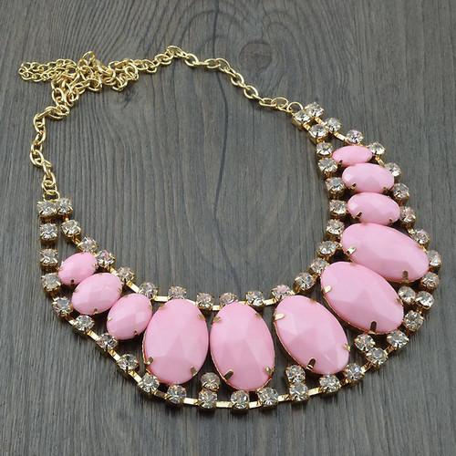 pale soft ligh PINK pink big huge statement necklace