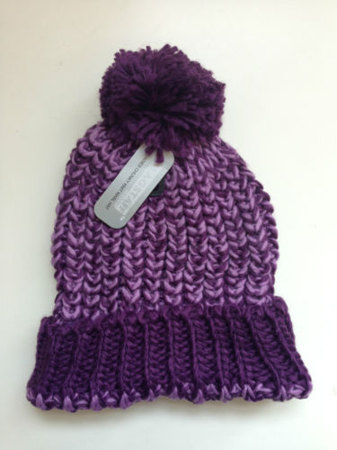 Purple pom pom hat