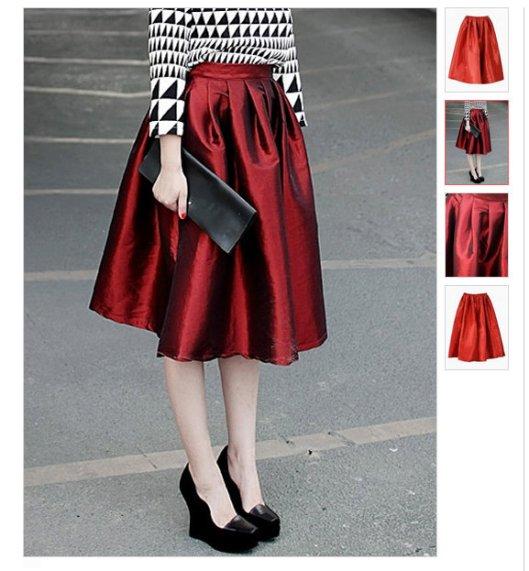red full midi shiny skirt LMUW AVS