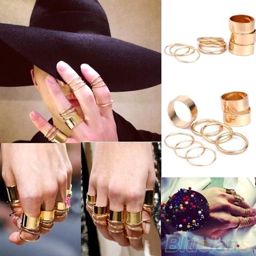 GOLD all fingers multi ring AVS LMUW