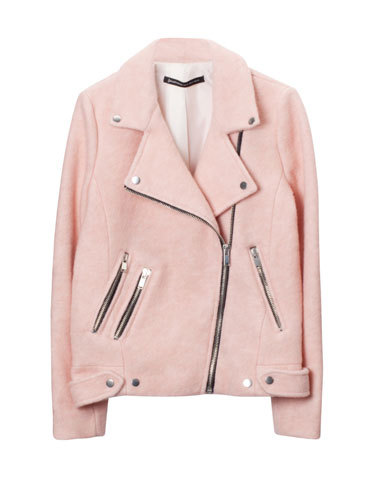 tradivarius zara powder PINK WOOL biker coat LMUW AVS