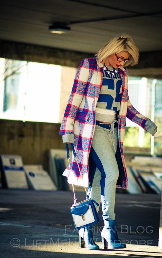 Blue Navy tartan check kimono hat pocket V neck dress LMUW -0011