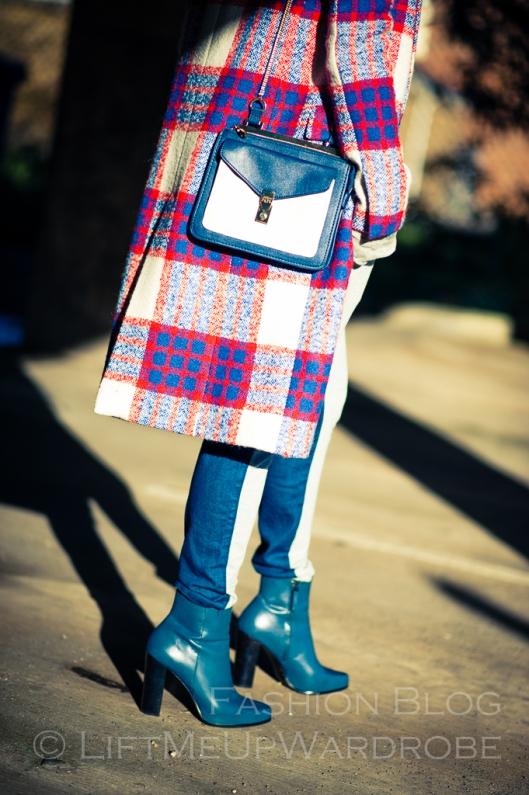 Blue Navy tartan check kimono hat pocket V neck dress LMUW -0020