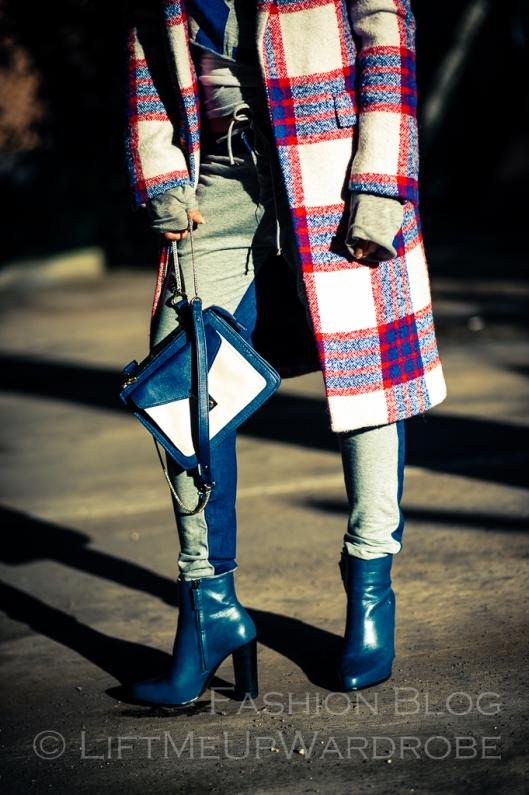 Blue Navy tartan check kimono hat pocket V neck dress LMUW -0021