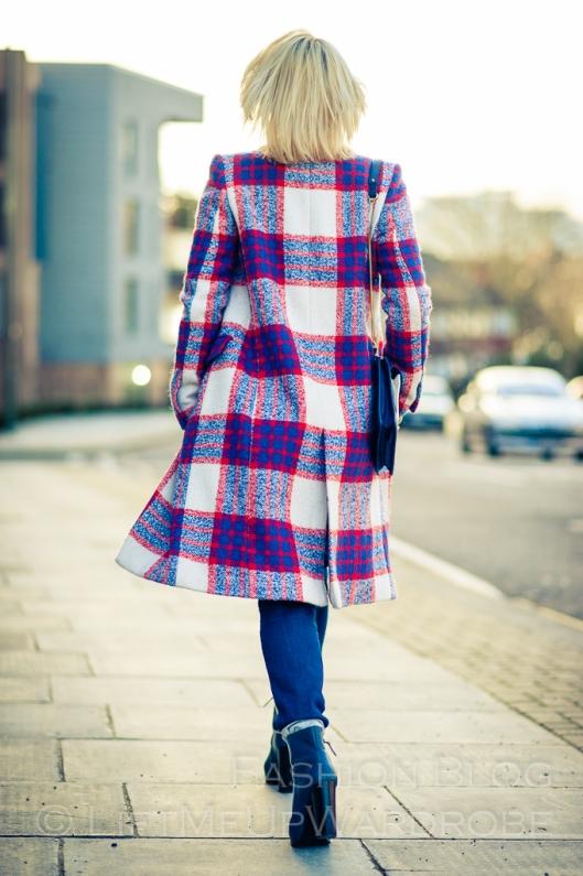 Blue Navy tartan check kimono hat pocket V neck dress LMUW -0023