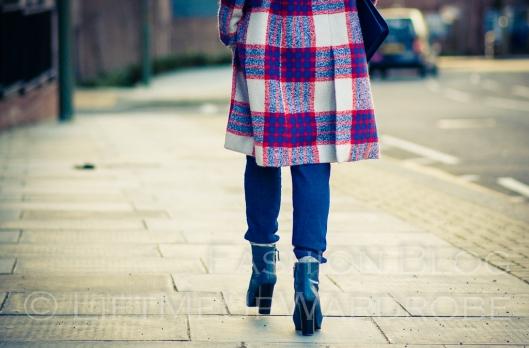 Blue Navy tartan check kimono hat pocket V neck dress LMUW -0025