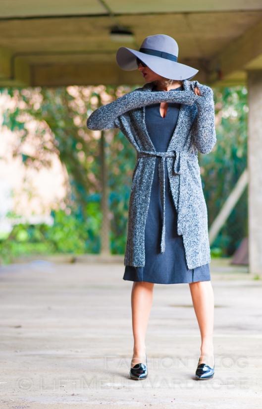 Blue Navy tartan check kimono hat pocket V neck dress LMUW -0065