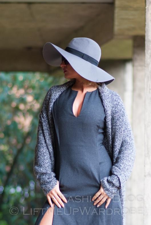 Blue Navy tartan check kimono hat pocket V neck dress LMUW -0069