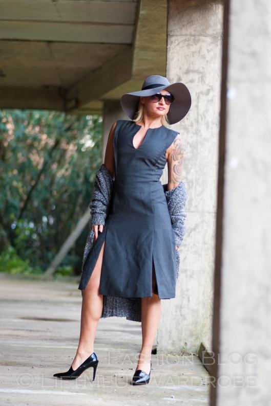 Blue Navy tartan check kimono hat pocket V neck dress LMUW -0073