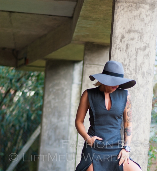 Blue Navy tartan check kimono hat pocket V neck dress LMUW -0080