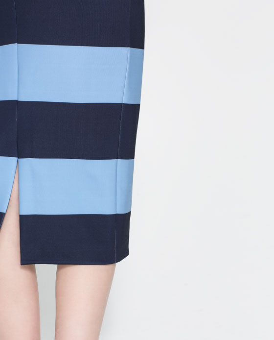 4479242401_2_5_1 ZARA striped pensil blue navy skirt 29.99