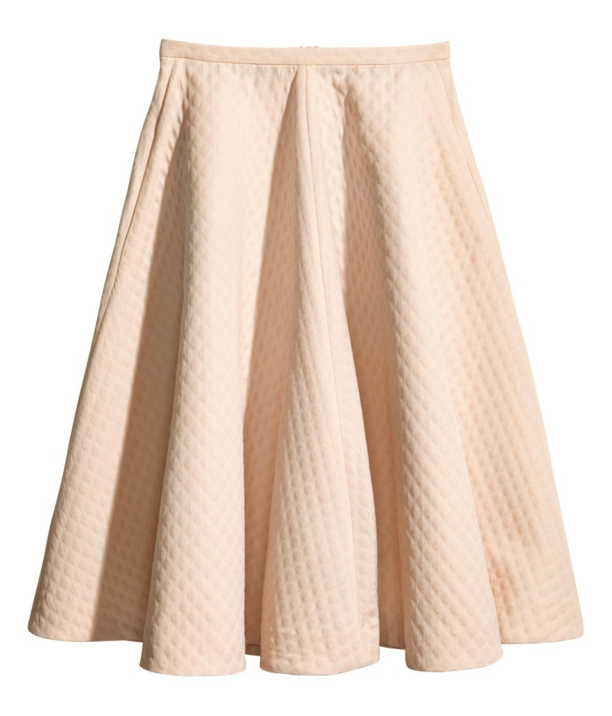 HM quilted wide midi skirt pastel pink LMUW