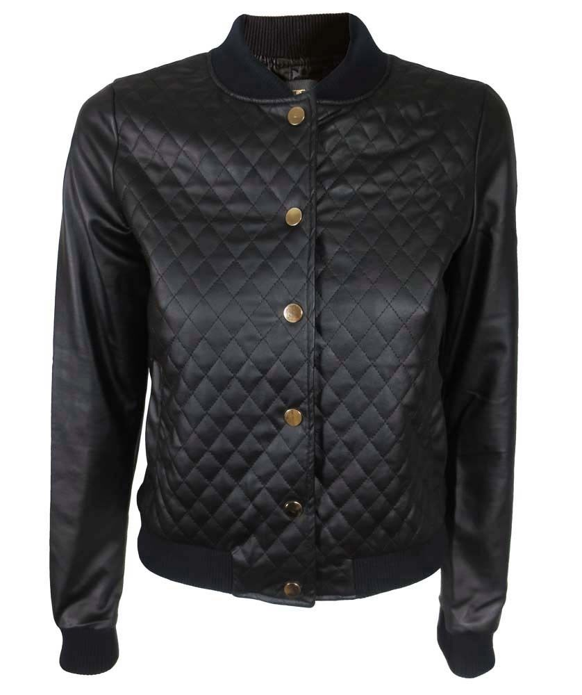 quilted black bomber jacket