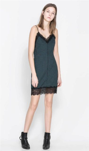 ZARA green lingerie dress LMUW