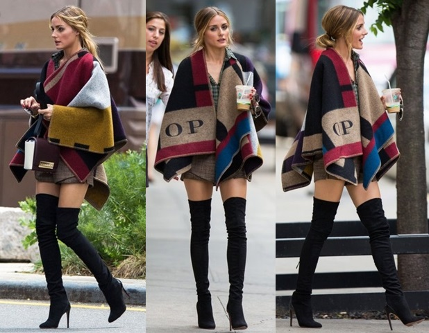 olivia-palermo-Burberry-Colour-Block-Check-Blanket-Poncho-floralesque_LMUW_AVS
