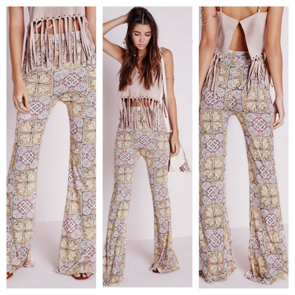 Missguided flared print pants LMUW