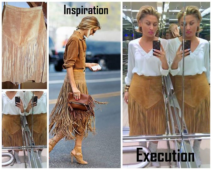 Fashion INSPO - tassel suede tan camel skirt LMUW avs