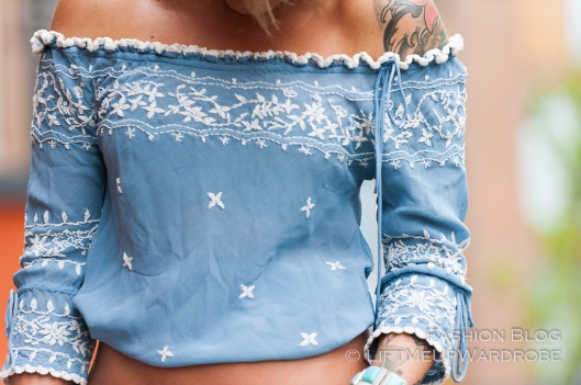flared flare bell boot cut gypsy hippie print ethnic peasant TRUE religion embroidered peasant top-0086
