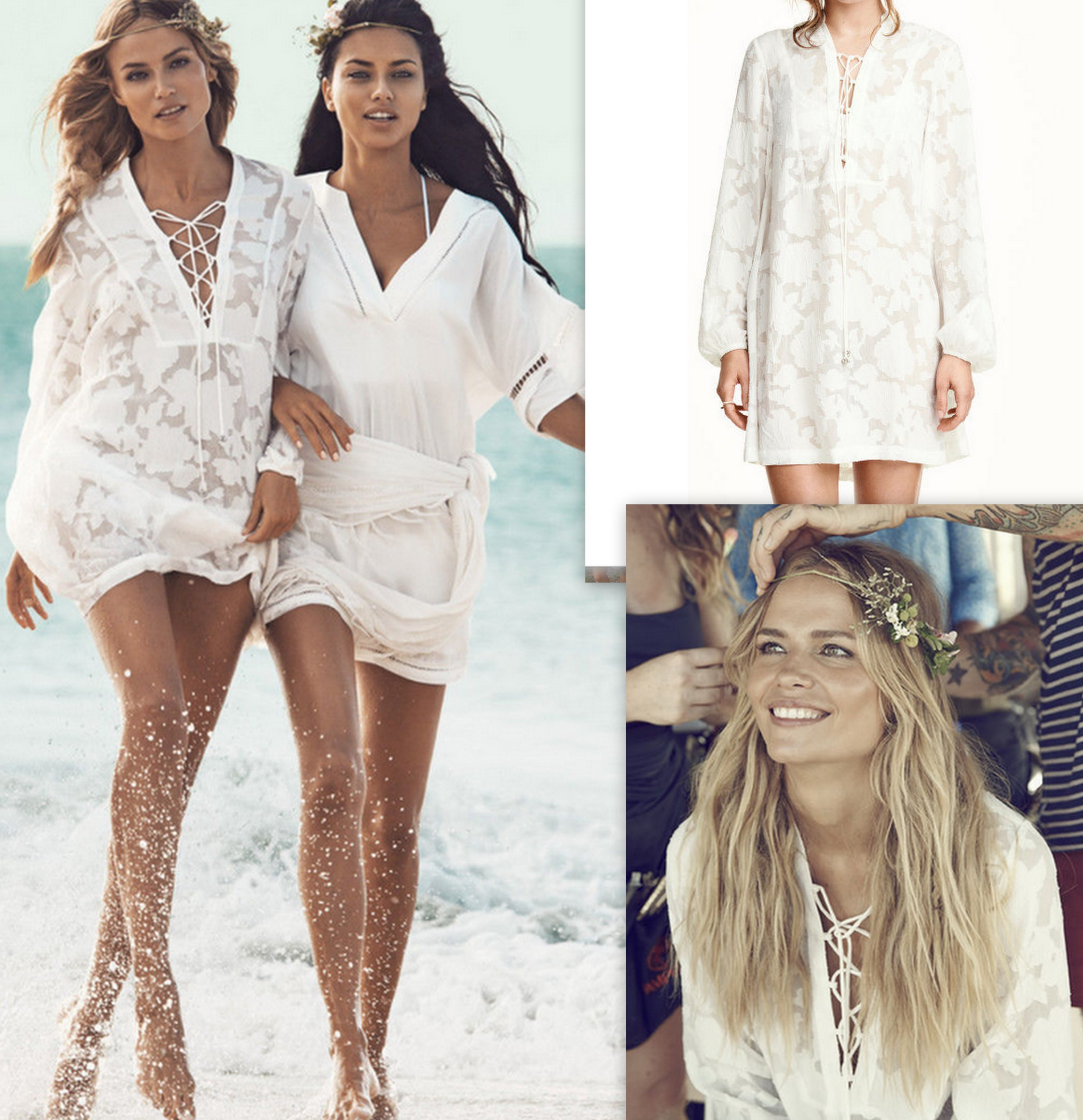 06c3413a0f hm white tunic short dress lace up detail LMUW AVS · Paisley beach kaftan  dress HM summer collection ...
