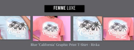 Blue California Graphic Print T-Shirt - Rivka femme luxe LIFTMEUPWARDROBE
