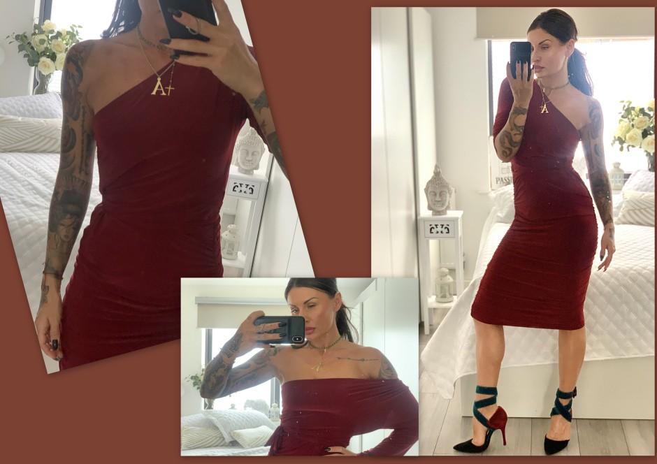 Wine One Shoulder Ruched Slinky Midi Dress - Savannah
